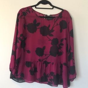 Purple floral peplum top
